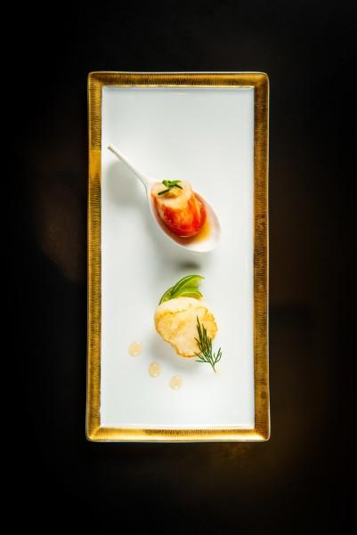 青檸煎帶子及鱈場蟹小鮮茄