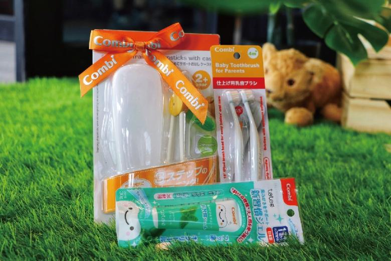 日本頂級嬰幼用品品牌Combi組 內含幼兒牙刷 牙膏與筷子學習組