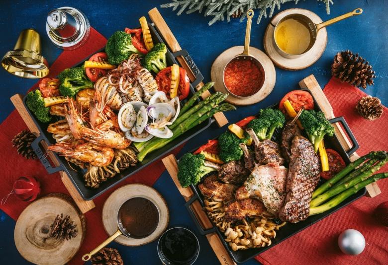 富邦藝旅folio繽紛聖誕跨年餐,豐富燒烤肉類與燒烤海鮮大餐,一上桌馬上吸睛。