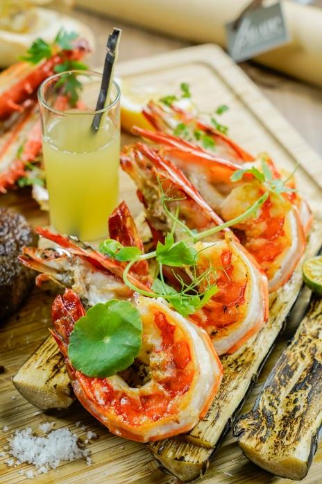 台北君悅-寶艾西餐廳 -馬來西亞甘蔗煙燻風味大蝦